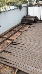 Low height rotten deck over waterproof membrane