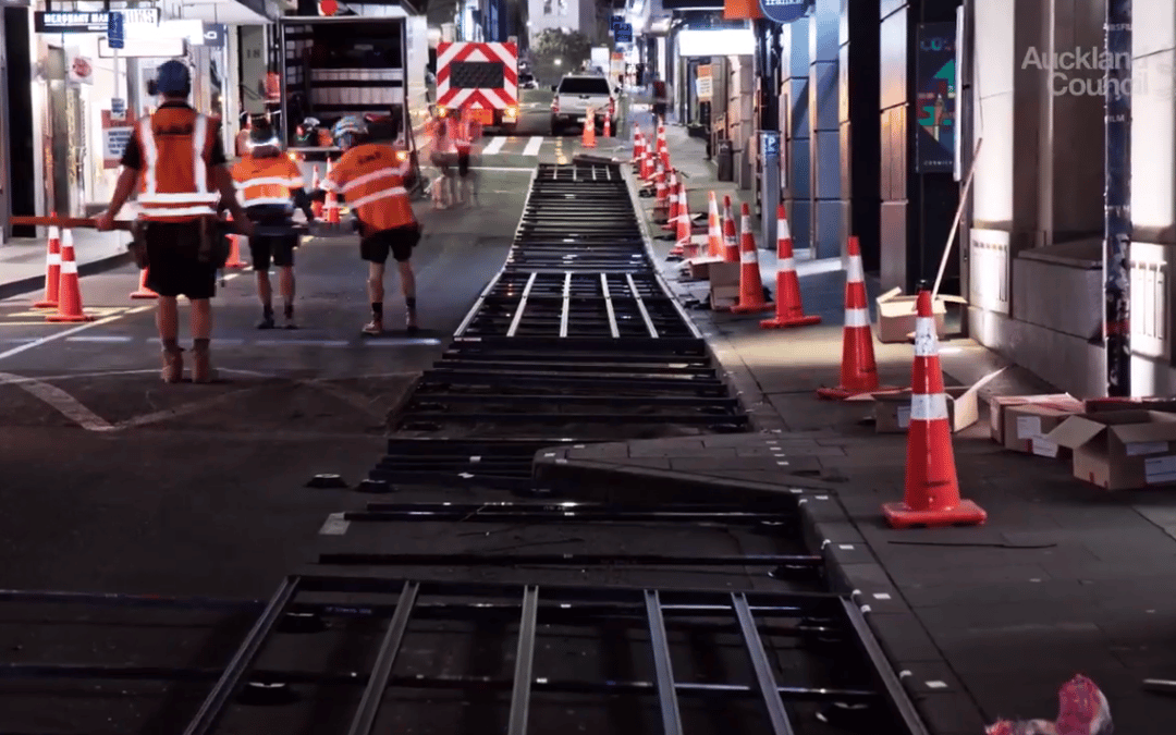 Building a temporary walkway in one of Auckland's busiest streets