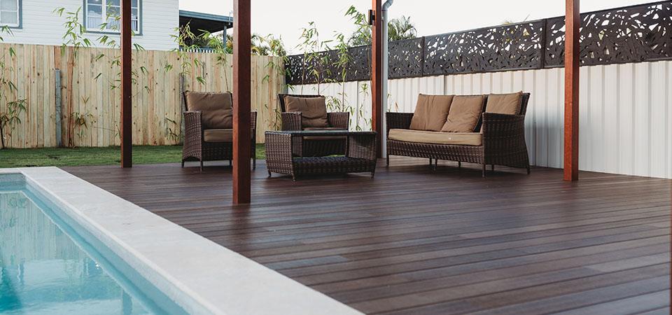 Resortdeck around pool seamless indoor outdoor flow